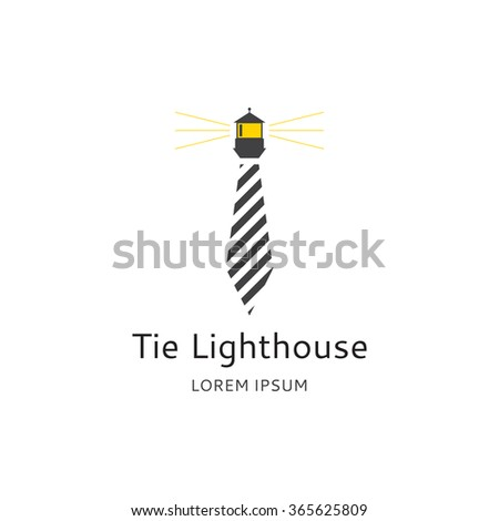 Tie Lighthouse logo. Vector concept of logo of lawyer. Template icon of lawyer company in the form of lighthouse and tie. - stock vector