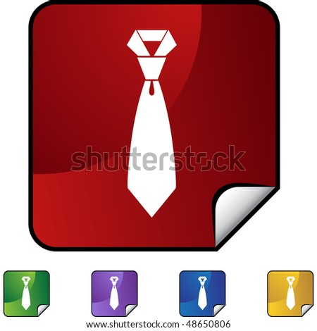 Tie web button isolated on a background - stock vector