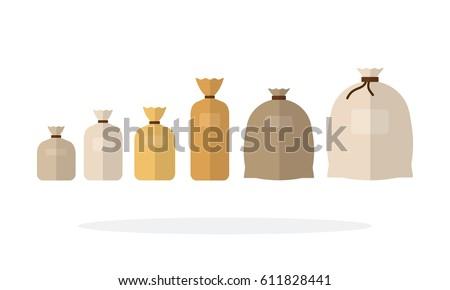 tied sacks different sizes row vectorのベクター画像素材 611828441