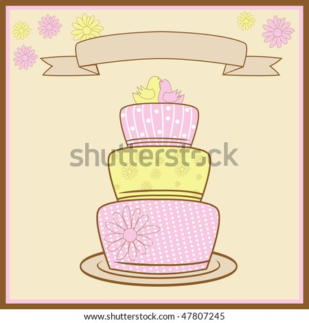 Tiered Wedding Cake With Love. Vector Illustration - stock vector