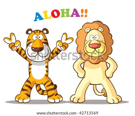 tiger and lion cartoon - stock vector