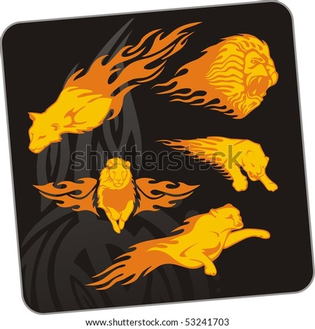 Tiger and lion.Vector illustration. Ready for vinyl cutting. - stock vector