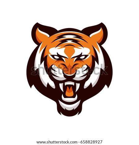 tiger animal mascot head vector illustration stock vector