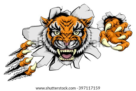 Tiger animal sports mascot character ripping through the background with his claws
