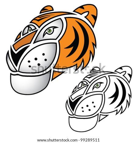 Cartoon tiger head profile