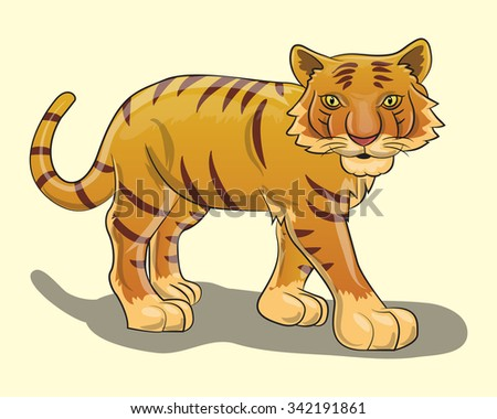 tiger cartoon isolated on white - stock vector