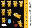 tiger cartoon set in vector format - stock vector