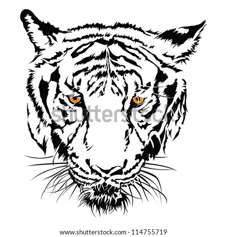 Tiger face black and white with the yellow eye. - stock vector