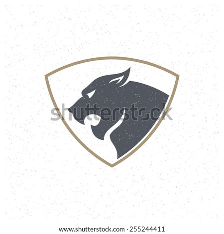 Tiger face Design Element in Vintage Style for Logotype, Label, Badge, T-shirts and other design. Sport mascot retro vector illustration. - stock vector