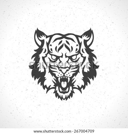 Tiger face logo emblem template mascot symbol for business or shirt design. Vector Vintage Design Element. - stock vector