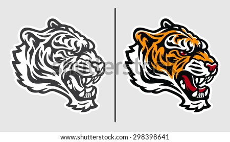 Tiger Face Mascot Logo - stock vector