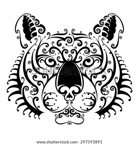 Tiger face with swirls looks ahead. Black and white tattoo of tiger head, front view. Qualitative vector illustration for circus, sports mascot, zoo, wildlife, nature, etc. It has only solid color
