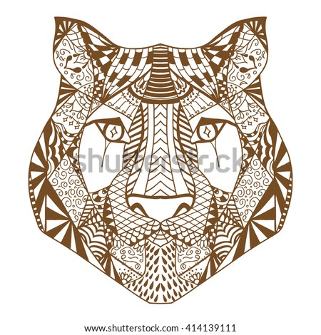 Tiger head. Adult antistress coloring page. Brown white hand drawn doodle animal. Ethnic patterned vector. African, indian, totem tribal, zentangle design. Sketch for tattoo, poster, print, t-shirt