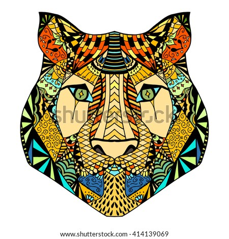 Tiger head. Adult antistress coloring page. Colored hand drawn doodle animal. Ethnic patterned vector. African, indian, totem tribal, zentangle design. Sketch for tattoo, poster, print, t-shirt