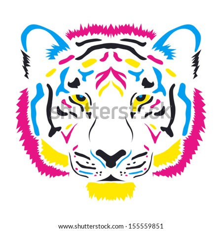 Tiger head colored cmyk colors - vector illustration, on white background - stock vector