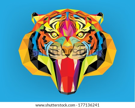 Tiger head geometric style - stock vector