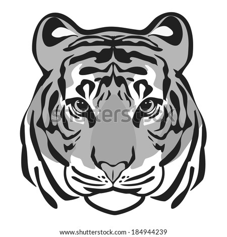 TIGER HEAD GREY SCALE - stock vector