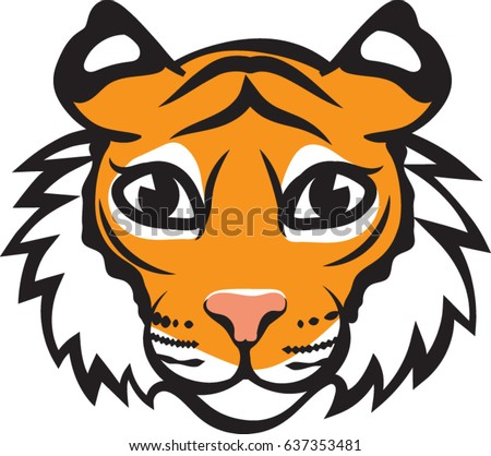 tiger head icon cartoon vector illustration stock vector 637353481 rh shutterstock com cartoon tiger face stencil cartoon tiger face drawing