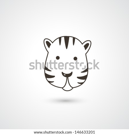 Tiger head icon vector - stock vector
