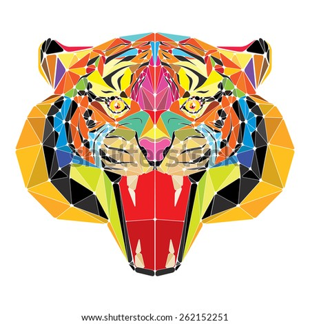 Tiger head in geometric pattern vector - stock vector