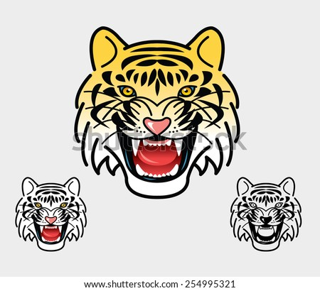 Tiger head mascot. Good use for symbol, icon, mascot, or any design you want. Easy to use, edit, or change color. - stock vector