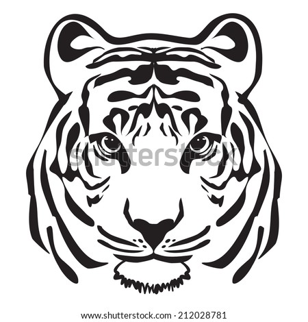 TIGER HEAD OUTLINE VECTOR - stock vector