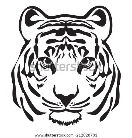 tiger head outline vector