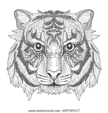 Tiger Head Page Adult Coloring Book Stock Vector 609784517