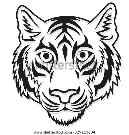 Tiger head tattoo immagine vettoriale stock 329113604 shutterstock - Tete de tigre dessin facile ...