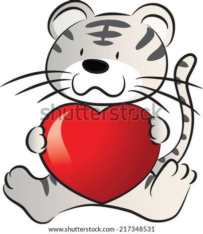 tiger holding a heart shape
