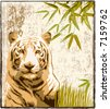 Tiger in a jungle background — VECTOR - stock vector