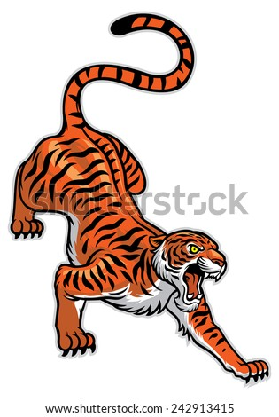 tiger in classic tattoo pose - stock vector