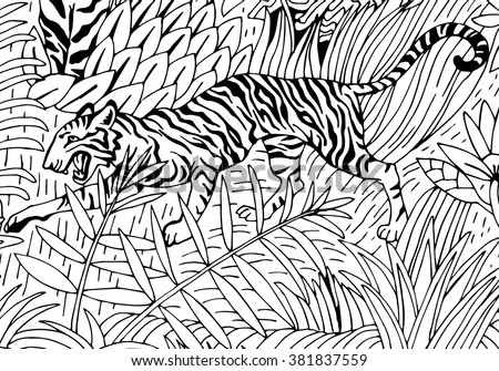 Tiger in the Jungle coloring page - stock vector