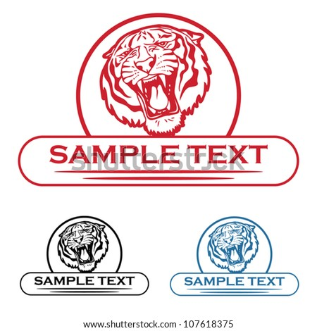 Tiger label - vector illustration - stock vector