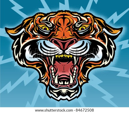 Tiger Mascot Tattoo - stock vector
