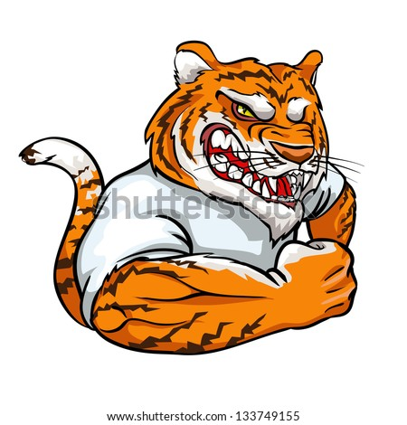 Tiger mascot, team logo design isolated - stock vector
