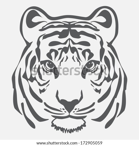 TIGER OUTLINE ILLUSTRATION VECTOR - stock vector