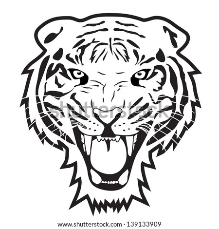 Tiger outline vector - stock vector