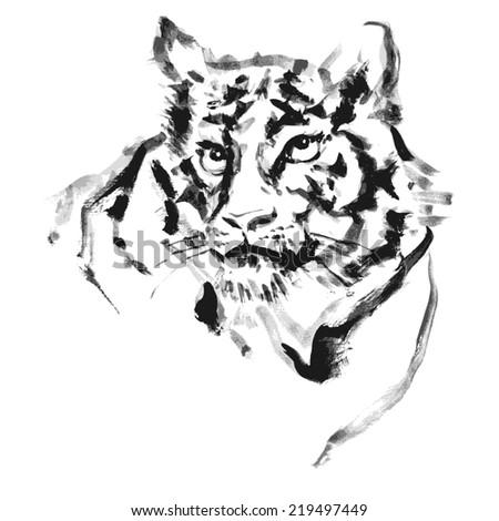 Tiger paint.vector - stock vector