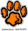 Tiger Paw Graphic Mascot Vector Image - stock vector
