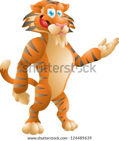 tiger presenting - stock vector