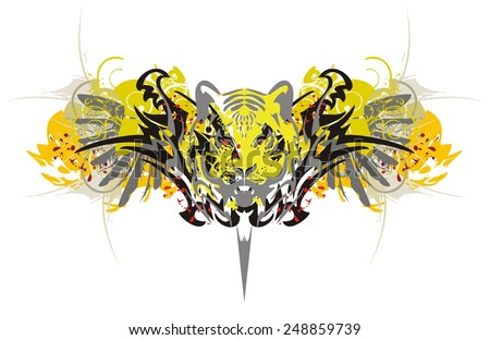 Tiger psychedelic splashes. The tiger image with wings, blood drops and splashes executed in  psychedelic colors in grunge style inspiring fear - stock vector