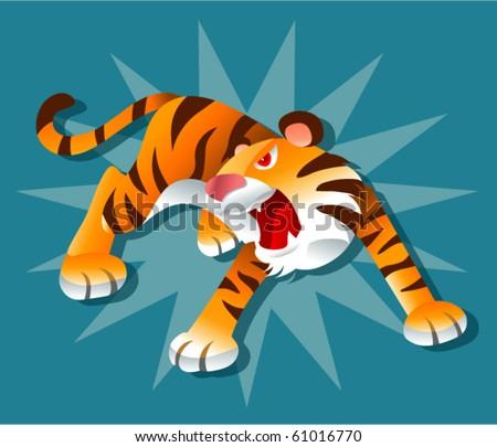 Tiger roar - stock vector