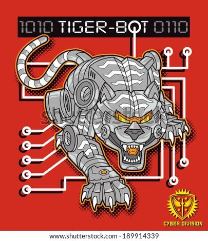 Tiger robot - stock vector