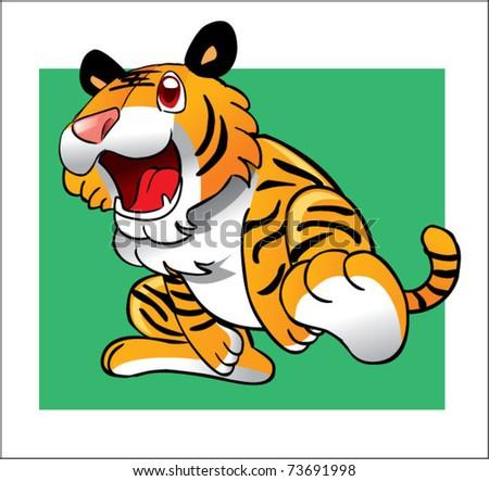 tiger running - stock vector
