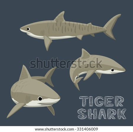 Tiger Shark Cartoon Vector Illustration