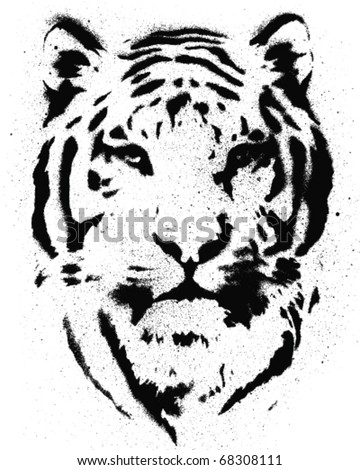 TIger Stencil Vector - stock vector