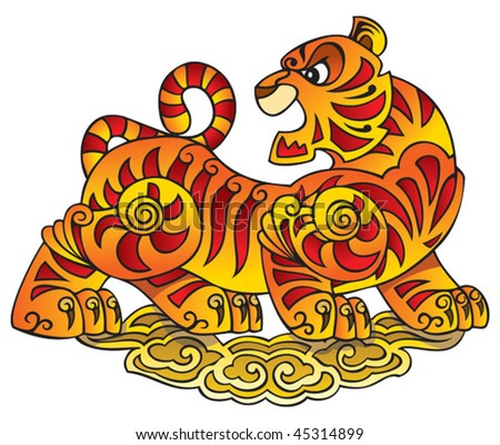 Tiger, symbol of coming year, a character of Chinese horoscope, vector illustration