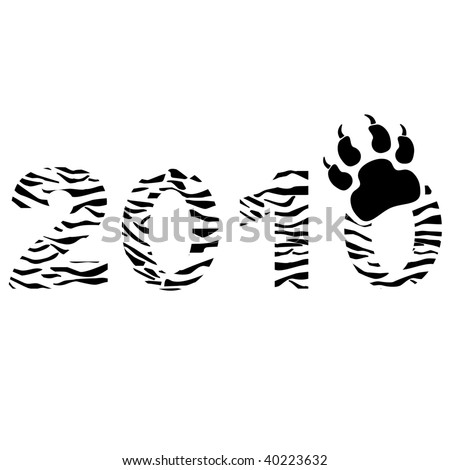 Tiger type New Year sign. - stock vector