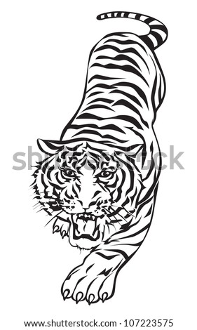 Tiger walking, graphic vector black and white. - stock vector